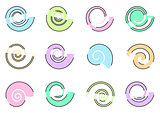 Abstract colorful spiral icons