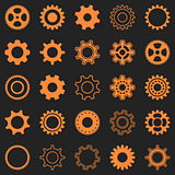 Vector orange gear wheel icons