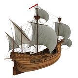 Caravel On White Background.