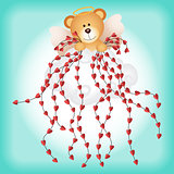 Cupid teddy bear with hearts background