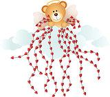 Cupid teddy bear with hearts