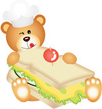 Teddy bear eating cheese sandwich