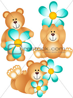 Three teddy bears with blue flower