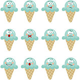Ice cream with different expressions