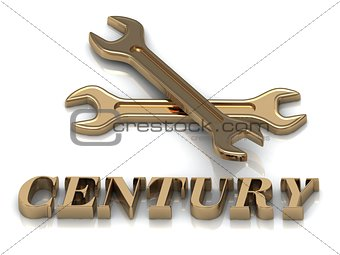 CENTURY- inscription of metal letters and 2 keys