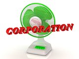 CORPORATION- Green Fan propeller and bright color letters