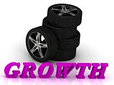 GROWTH- bright letters and rims mashine black wheels