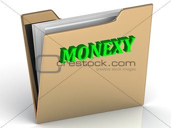 MONEXY - bright color letters on a gold folder