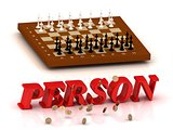 PERSON- inscription of color letters and chess on