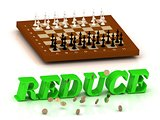 REDUCE- inscription of green letters and chess on
