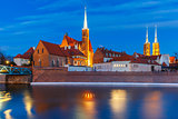 Cathedral Island at night in Wroclaw, Poland
