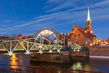 Tumski Bridge at night in Wroclaw, Poland