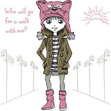 Vector cute girl  in funny hat with a muzzle cat