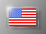 United States Flag Glossy Button. Vector illustration.