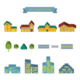 City constructor 3d icons set.