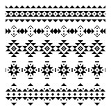 Set of seamless vector borders in the aztec style. Decorative elements in the ethnic style. Elements for cards, patterns and backgrounds.