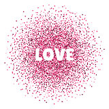 Love. Valentines day card. Vector illustration with colorful hearts. Abstract illustration for print or banner.