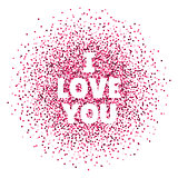 I love you. Valentines day card. Vector illustration with colorful hearts. Abstract illustration for print or banner.