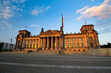 Front scenic view on Reichstag in the evening