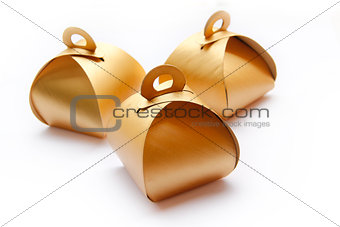 Three Golden Package Boxes