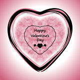 Happy Valentines Day Greeting Card on pink background, vector illustration