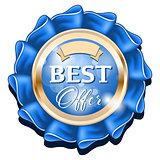 Blue best offer badge with gold border