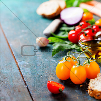 Tomato and basil sandwiches with ingredients