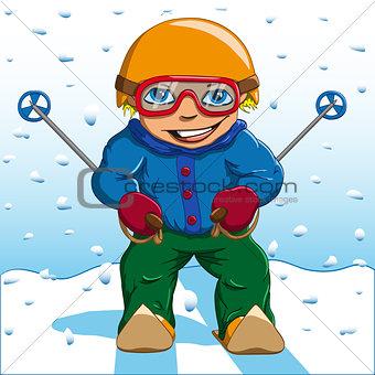 boy winter skiing