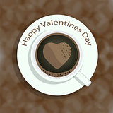 Cup of coffee with heart shape image on colorful background for Valentines Day and other occasions