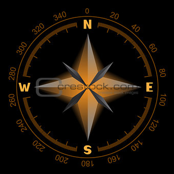glowing compass dial