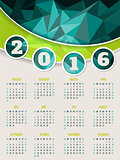 Colorful 2016 calendar template with triangle background