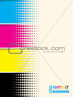 Abstract cmyk halftone background template