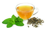 Cup of green tea with mint