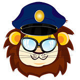 Cartoon lion bespectacled