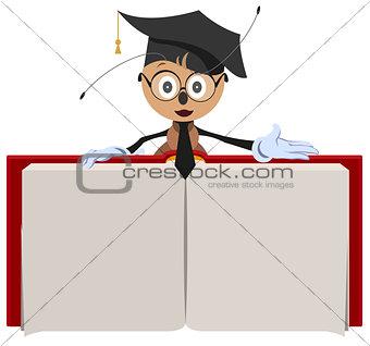 Ant teacher holding open book