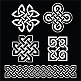Celtic Irish patterns and braids on black