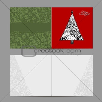 Christmas card, doodle pattern tree for your design