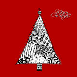 Christmas tree, doodle pattern for your design