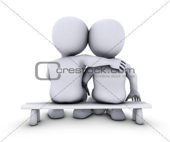 3D Morph Man couple sitting on a bench