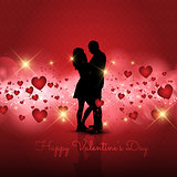 Silhouette of couple on Valentine's Day background