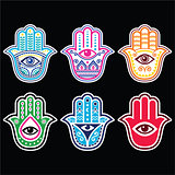 Hamsa hand, Hand of Fatima - amulet, symbol of protection from devil eye on black background