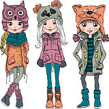 Vector set cute girls in funny hats