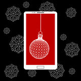 Flat vector illustration of modern Mobile phone with Christmas decoration. The structural grid of polygons. Abstract Creative concept background. Christmas ornaments hanging rope.