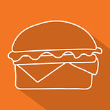hamburger icon  symbol with long shadow. Vector illustration eps 10.