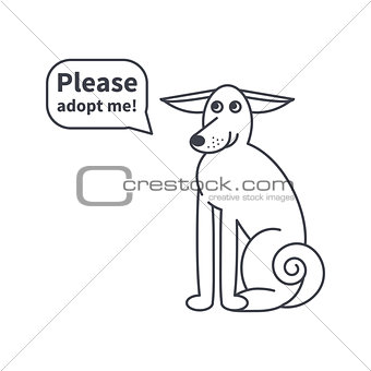 Adoptable dog  line icon