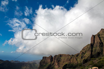 Century plant against Masca village and mountains, Tenerife, Canary islands, Spain