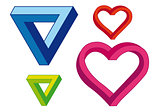 infinite heart and triangle, vector set
