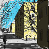 City Street Sketch Vector