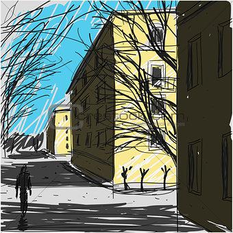 City Street Sketch Vector