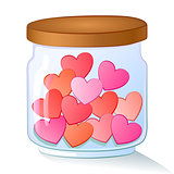 Vector cartoon illustration of a glass jar filled with red hearts